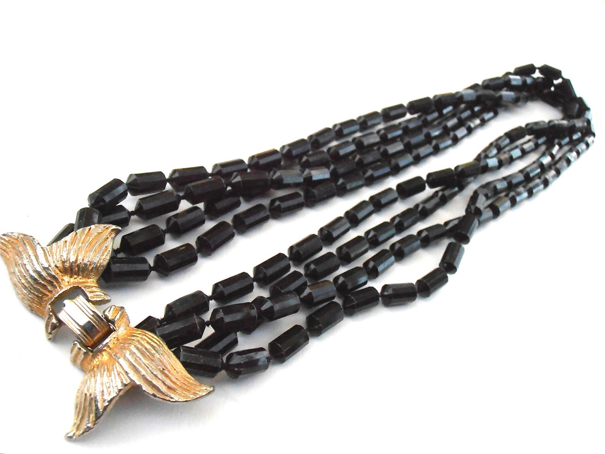 b433faa8003f6 Vintage Faux Black Onyx Faceted Black Bean Bead Multistrand Necklace ...