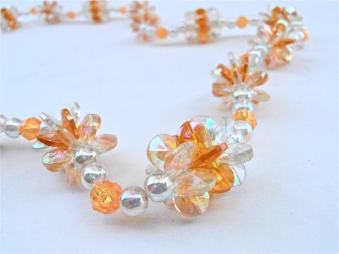 Vintage,Orange,Peach,Flower,Clusters,Bead,Necklace,Single,Strand,Aurora,Borealis,Light,Amber,Plastic,Iridescent,Lei,Floral,Costume,Jewelry,vintage orange peach bead necklace, vintage orange plastic bead necklace, amber bead single strand necklace, peach faceted bead necklace, orange flower cluster necklace, peach floral cluster necklace, aurora borealis beaded necklace, faux amber necklace