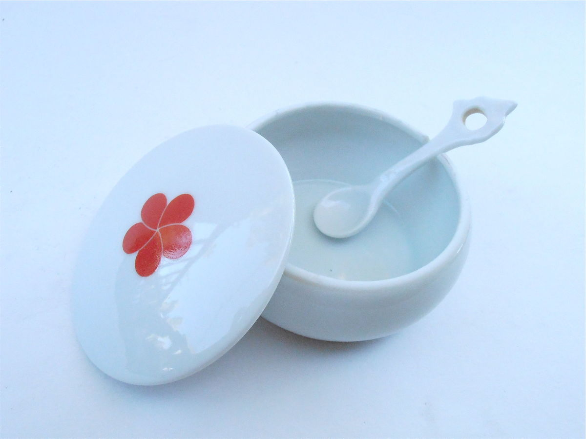 Vintage Round White Ceramic Relish Bowl Red Camellia Single Flower Covered Miniature Mini Serving Dish Sauce Lidded Pottery Spoon