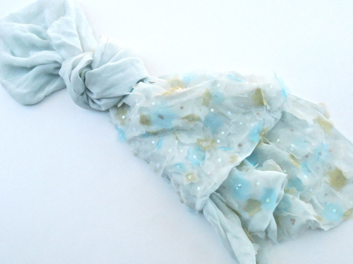 Vintage Pale Teal Silk Shawl Light Wrap Yellow Blue Sheer Flowers Petals Sequins Long Oblong Scarf Echo Translucent Fabric Villacollezione - product images  of