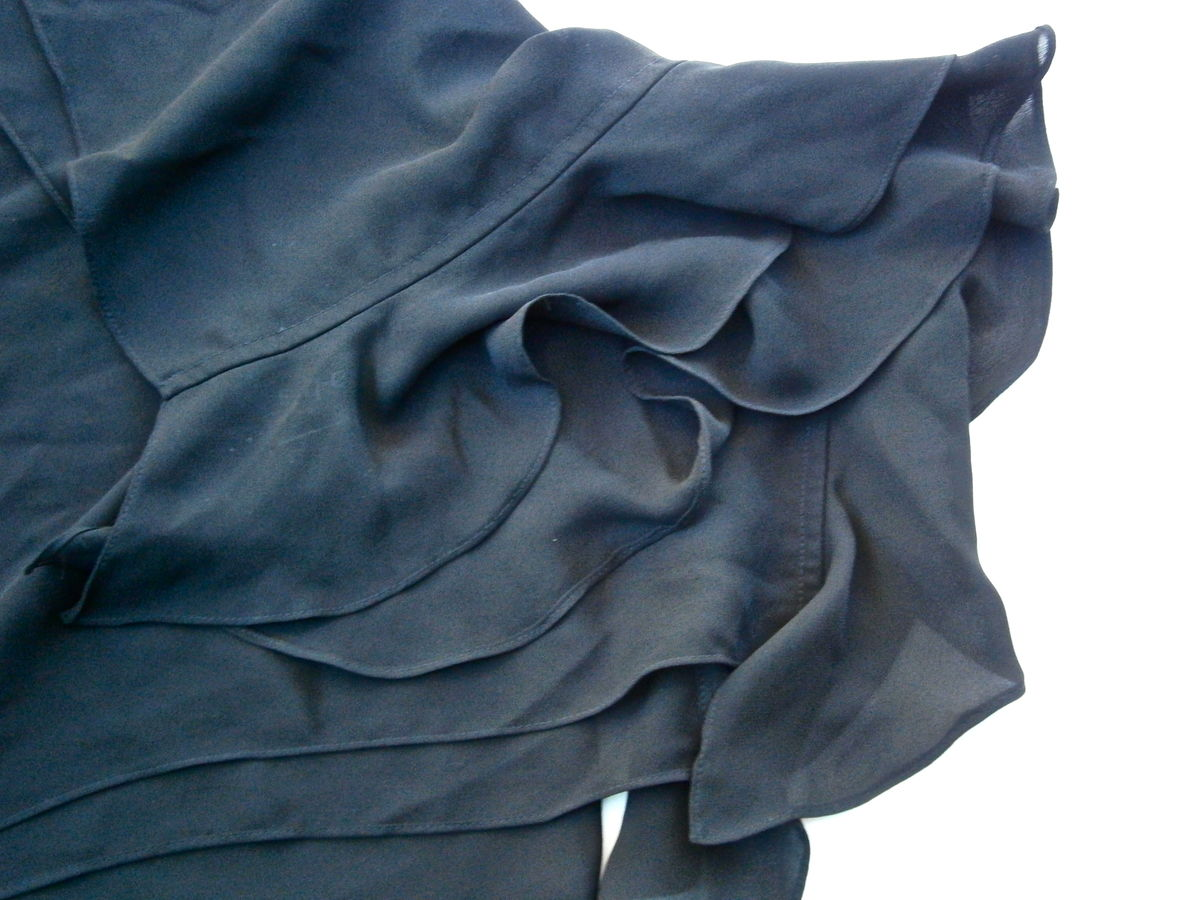 Vintage Black Georgette Ruffle Scarf Edges Wrap Polyester Solid Color Long Wrap ABS Dress Collection Plain Unadorned Fabric Villacollezione - product images  of