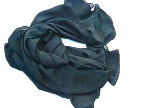 Vintage,Black,Georgette,Ruffle,Scarf,Edges,Wrap,Polyester,Solid,Color,Long,ABS,Dress,Collection,Plain,Unadorned,Fabric,Villacollezione,vintage black long georgette long scarf, vintage black long ruffled scarf, vintage abs dress collection scarf, vintage a b s black ruffles shawl wrap, vintage black designer long wrap shawl, villacollezione, villa collezione, vintage solid black scarf