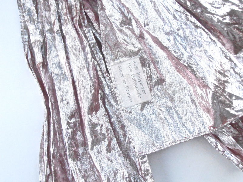 Vintage Pink Metallic Scarf Light Foil Shiny Sheen France French Fabric Oblong Head Wrap Band Kawaii Material Shine Clothing Accessory  - product images  of