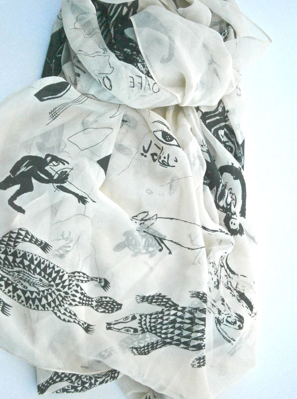 Vintage African Beige Chiffon Scarf J G France Shawl Beige Black Wrap Animal Cream Avant Garde Wildlife Fauna Monkey Elephant Third Eye - product images  of