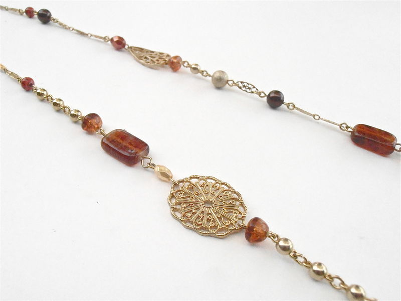 Vintage Gold Tone Bronze Bead Filigree Chain Link Necklace Avon Faux Amber Sienna Acrylic Faceted Boho Single Strand 39 Inches Tawny Copper - product images  of