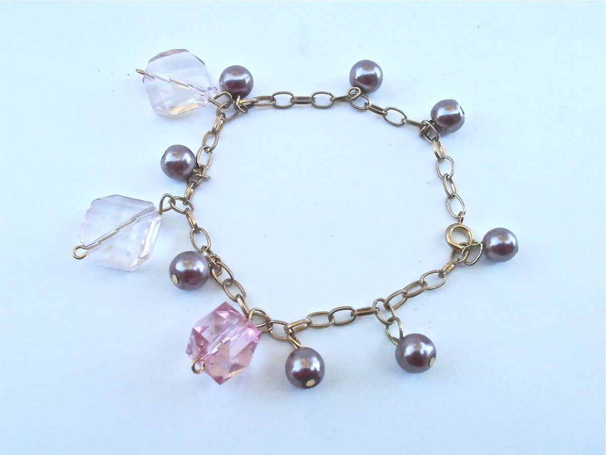 Vintage Purple Faux Pearl Bead Charm Bracelet Chain Link Gold Tone Acrylic Light Pink Faceted Acrylic Cube Light Rhombus Diamond Dangling - product images  of