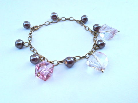 Vintage,Purple,Faux,Pearl,Bead,Charm,Bracelet,Chain,Link,Gold,Tone,Acrylic,Light,Pink,Faceted,Cube,Rhombus,Diamond,Dangling,vintage purple faux pearl purple pearl bracelet, vintage purple charm gold tone bracelet, vintage gold tone chain link bracelet, vintage light pink bead charm bracelet, vintage light purple charm dangling bracelet, faceted acrylic purple charm bracelet