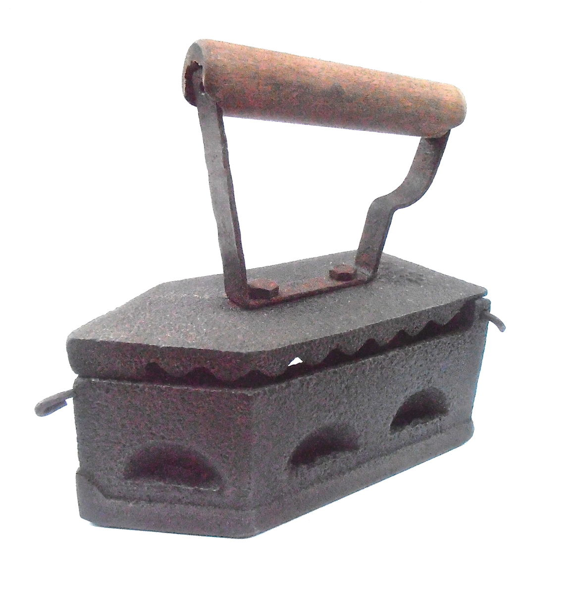 Vintage Sad Fama Coal Pressing Cast Iron Old Antique Rare Clothing Charcoal Wooden Handle Smoothing Forged Solid Metal Latch Hard To Find - product images  of