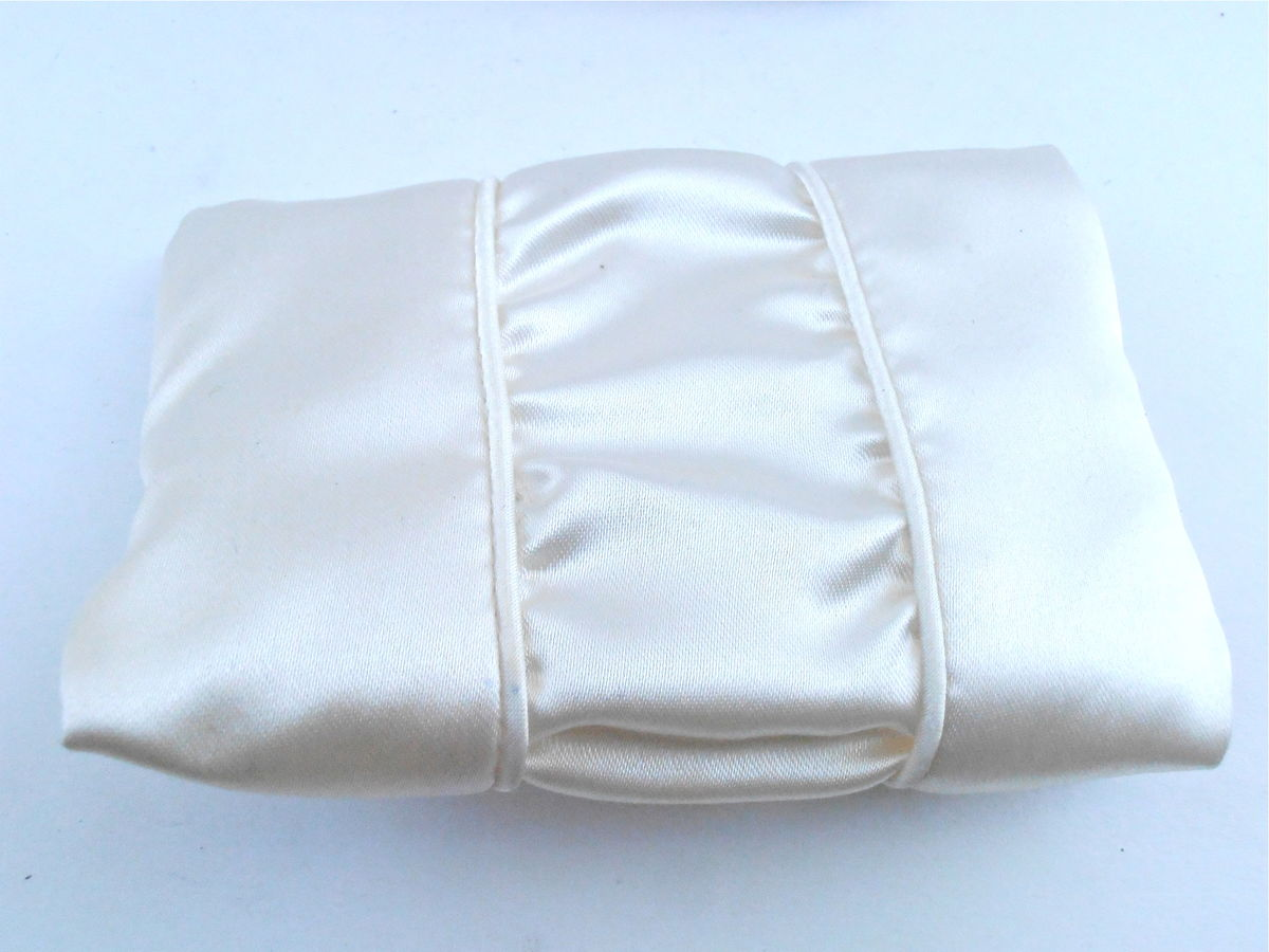 Vintage Floral Cream Satin Zipper Pouch Sage Green Ribbon Matching Tissue Holder Soft Case Pocket Purse Size Makeup Bag Bride Bridal Wedding - product images  of
