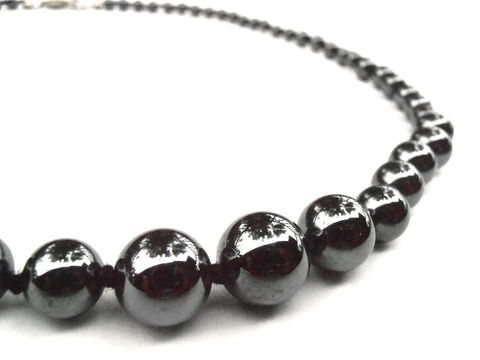 "Vintage,Hematite,Bead,Single,Strand,Necklace,17"",Inch,Metallic,Gunmetal,Silver,Gray,Grey,Round,Beaded,Shiny,Graduated,Hand,Knotted,vintage hematite round bead necklace, vintage single strand 17 inch silver gray bead necklace, metallic gunmetal graduated bead necklace, silver grey necklace, vintage 10mm hematite stone necklace, shiny hematite necklace, black bead hand knotted necklace"