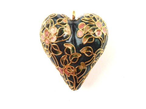 Vintage,Dark,Green,Heart,Ornament,Gold,Tone,Enamel,Cloisonne,Christmas,Painted,Flower,Floral,Forest,Peach,Coral,Decorative,Decoration,vintage dark green heart cloisonné ornament, vintage heart christmas ornament, vintage heart christmas decoration, vintage dark green enamel heart tree decoration, vintage gold tone enamel paint, forest green heart, vintage peach coral floral ornament