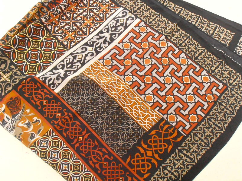 Vintage Brown Shades Patchwork Large Scarf Echo Signature Designer Tan Sienna Fawn Taupe Tawny Beige Light Desert Camel Villacollezione  - product images  of