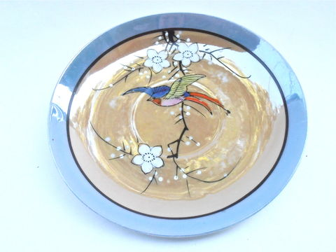 Vintage,Peach,Blue,Iridescent,Dish,Takito,Luster,Ware,Fine,China,Japanese,Lusterware,Charger,Plate,Colorful,Bird,Feather,Daisies,Flower,TT,vintage peach blue iridescent dish, vintage bird daisies takito tt lusterware, vintage takito nature pattern luster ware, vintage 5 inch colorful bird japanese fine china, peach blue charger, colorful bird feather dish, white daisies flower round saucer