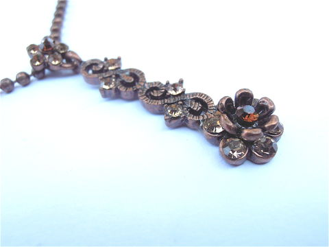 Vintage,Brown,Crystal,Ball,Chain,Necklace,Etched,Flower,Art,Nouveau,Copper,Like,Metallic,Bronze,Floral,Rhinestones,Y,Dangling,Pendant,Glass,vintage brown glass crystal necklace, vintage art nouveau crystal dangling pendant necklace, vintage brown rhinestone flower necklace, vintage bronze copper flower necklace, vintage brown rhinestone floral pendant, vintage copper ball chain necklace