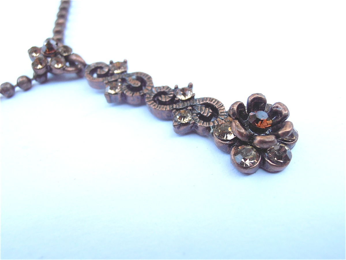Vintage Brown Crystal Ball Chain Necklace Etched Flower Art Nouveau Copper Like Metallic Bronze Floral Rhinestones Y Dangling Pendant Glass - product images  of