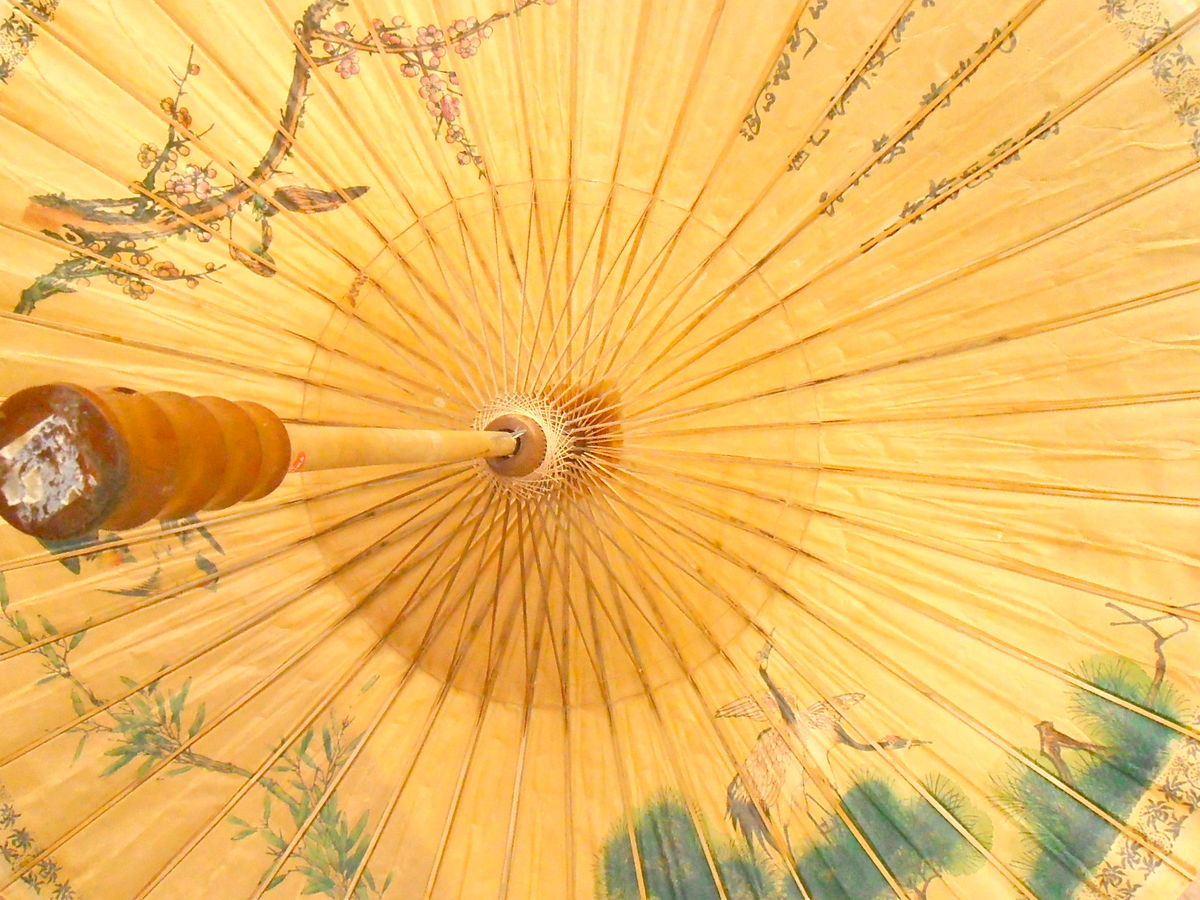 Vintage Chinese Paper Parasol Asian Japanese Umbrella Wooden Carved Birds Nature Pink Flowers Chinoiserie Bamboo Calligraphy Butter Yellow  - product images  of