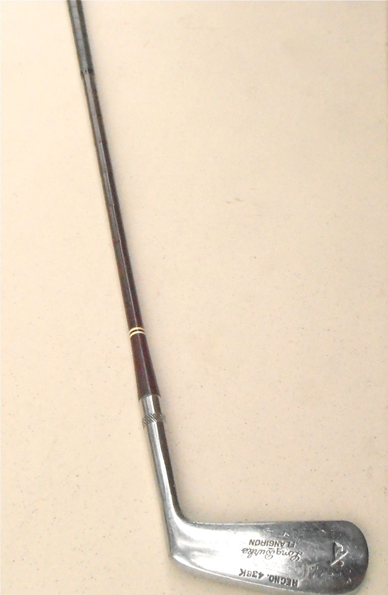 Vintage Rare Long Burke 10 Golf Putter Flangiron Right Hand Original Leather Grip Reg No 438K Dot Face Punch Iron Hard To Find 34 Inch Club - product images  of