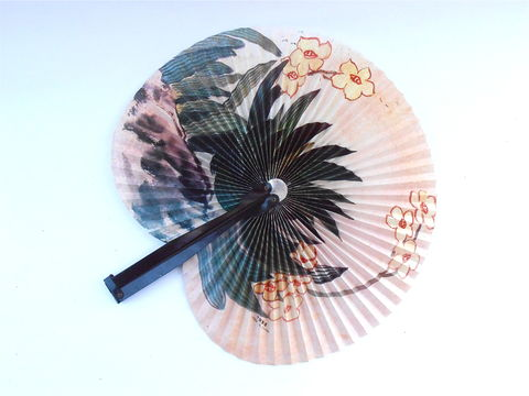 Vintage,Chinese,Yellow,Flowers,Folding,Paper,Fan,Metal,Handle,Floral,Collapsible,Pleats,Handheld,Accordion,Olive,Green,Cactus,Nature,China,vintage chinese paper folding fan, vintage asian collapsible paper fan, vintage yellow flowers chinese fan, metal handle fan, vintage chinese floral handheld fan, vintage pleated accordion fan, vintage olive green cacti print fan, vintage nature print fan