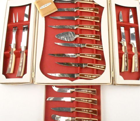 Vintage,Stainless,Steel,Knives,Regent,Sheffield,England,Prestige,Cutlery,Steak,Set,Kitchen,Hostess,Chef,Dessert,Serving,Tableware,Flatware,vintage stainless steel regent sheffield cutlery knives, vintage england prestige cutlery set, vintage sheffield 19 piece knife set, hostess serving party set, chef carving knives, stainless steel steak knife set, kitchen knife set, dessert serving set