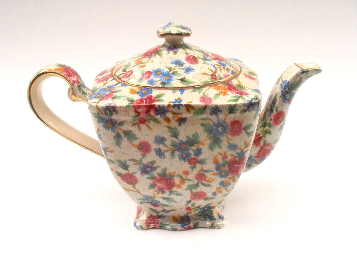 Vintage English Ascot Teapot Royal Winton Old Cottage Chintz Grimwades Tea Pottery Ceramic Porcelain Cottage Shabby Floral Pink Flowers Gold - product images  of