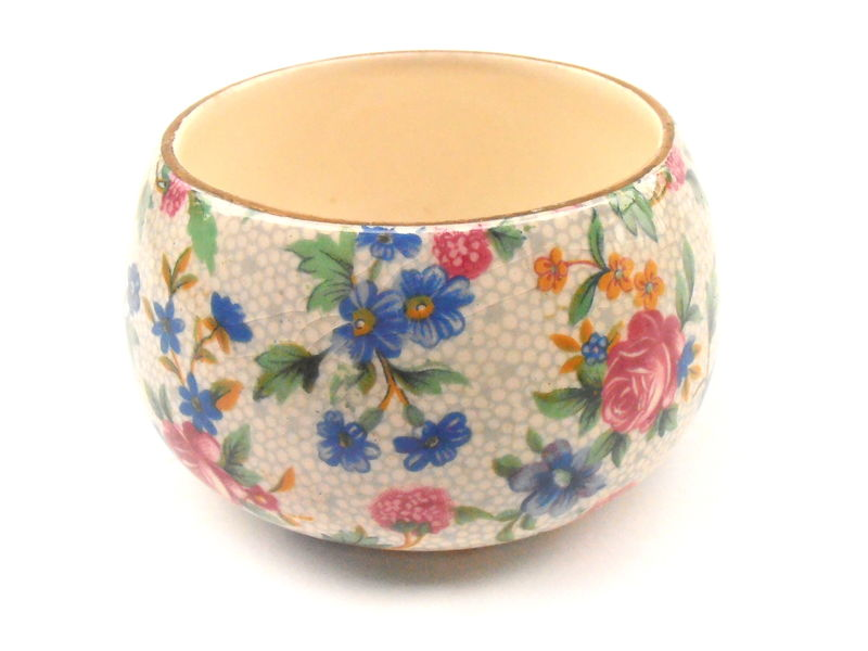 Vintage Royal Winton Sugar Cube Bowl Round Ceramic Pottery Gold Gilt Gild Floral Pink Blue Green Yellow Old Cottage Chintz Grimwades England - product images  of