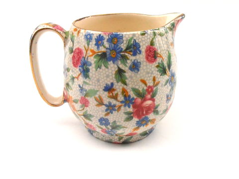 Vintage,Gold,Trim,Tea,Coffee,Creamer,Royal,Winton,Milk,Ceramic,Pottery,Porcelain,Gilt,Gild,Flower,Pink,Blue,Green,Cottage,Chintz,Grimwades,vintage gold trim milk coffee tea creamer, vintage royal winton creamer, vintage grimwades creamer, vintage shabby cottage chic floral milk creamer, vintage royal winton ceramic pottery porcelain, floral chintz design, old cottage chintz royal winton
