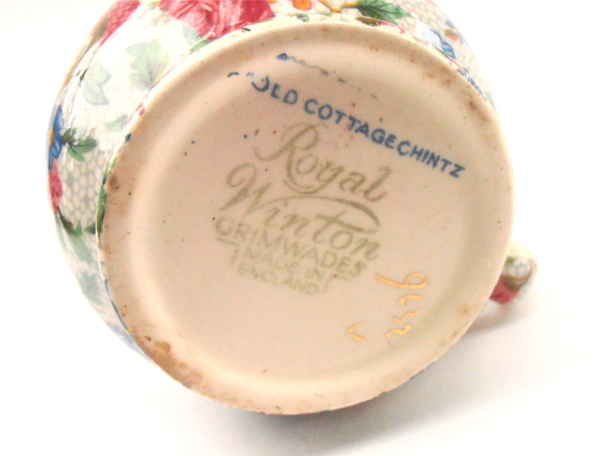 Vintage Gold Trim Tea Coffee Creamer Royal Winton Milk Ceramic Pottery Porcelain Gilt Gild Flower Pink Blue Green Cottage Chintz Grimwades  - product images  of