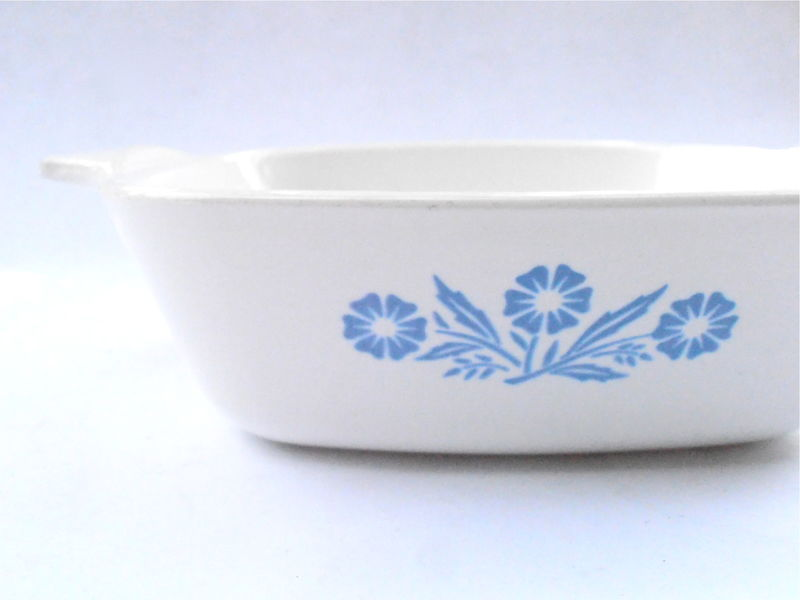 Vintage Cornflower Blue Petite Pan Small Casserole Bakeware Corningware White Ceramic Flowers Dish P41 Mini Serving Entree Tray 1.75 Cup - product images  of