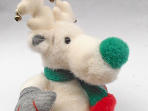 Vintage,Snobell,White,Reindeer,Green,Nose,Applause,Stuff,Toy,Animal,Moose,Antlers,Plushie,Christmas,Bells,Holiday,Kawaii,Children,Boy,Girl,vintage little snobell collectible toy stuffed animal, vintage white reindeer stuffed toy animal, vintage moose antlers plushie, vintage applause little snobell 11 inches stuffed animal, reindeer kawaii christmas plushie toy, vintage silver christmas bell