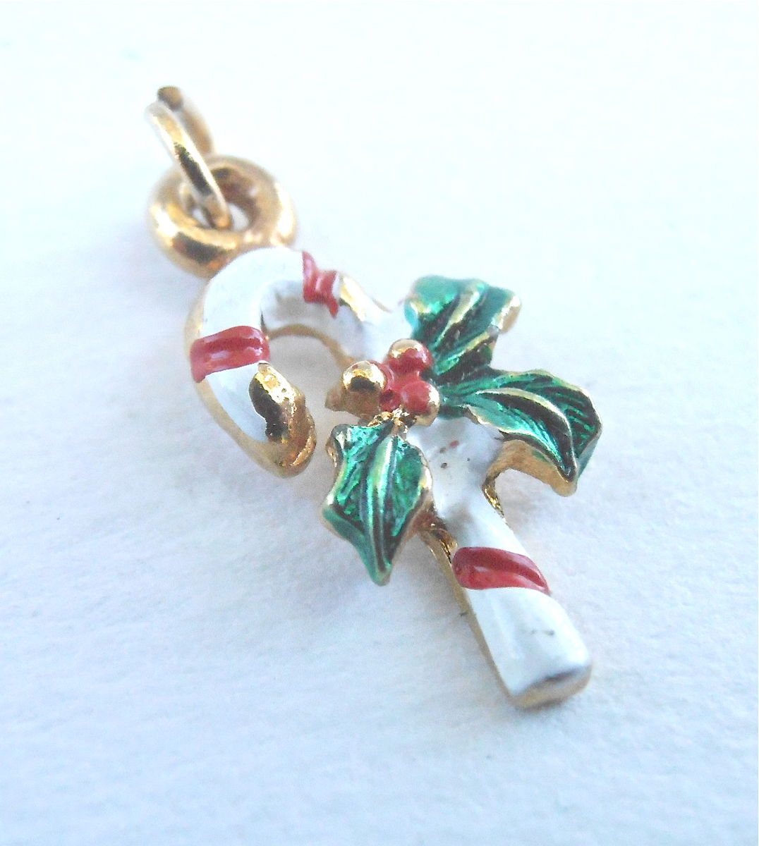 Vintage TINY Christmas Candy Cane Pendant Charm Red White Stripes Peppermint Holly Berries Holiday Season Xmas Gold Tone Mini Miniature - product images  of