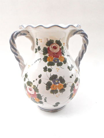 Vintage,L,Pardi,Italian,Pottery,Jar,For,Cottura,Ceramic,Art,Imports,Faience,Handle,Italy,Flowers,Bouquet,Vase,Vessel,RSA,202,430,vintage l pardi italian pottery jar, vintage italian faience ceramic vase pottery jar vase, vintage cottura art ceramic imports rsa 202 430 vessel, floral clusters rosa pattern, vintage Italian jar with blue handles, vase blue handles, ruffled white vase