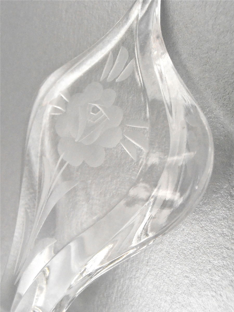 Vintage Bulbous Crystal Perfume Bottle Art Deco Flower Etched Stopper Fragrance Decanter West Germany Clear Irice Irving W Rice Collectible - product images  of