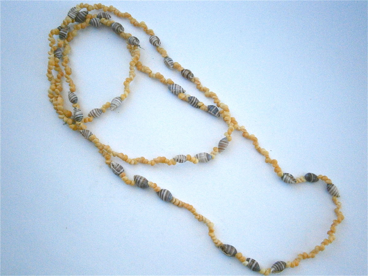 "Vintage Yellow Hawaiian Lei Necklace Mongo Shells Littorina Seashells Brown Tiny Spiral Nassa 50"" Inches Extra Long Single Strand Popcorn  - product images  of"