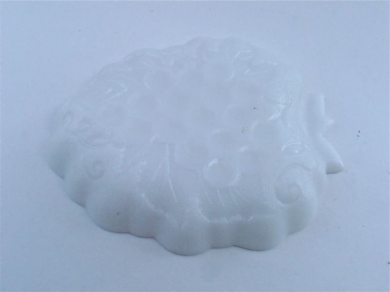 Vintage Hazel Atlas Milk Glass Dish Hobnail Plate Embossed Grape Cluster Candy Nut Dessert Midcentury White Shabby Cottage Chic Scallop Edge - product images  of