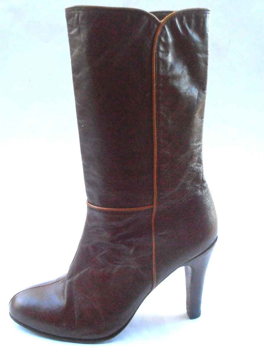 4ff1fffc7fd Vintage Reddish Brown All Leather Boots Ladies Mid Calf Shoes Round ...