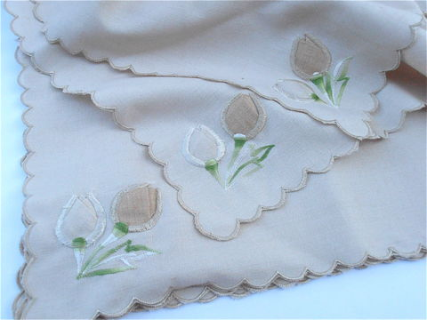 Vintage,Beige,Embroidered,Peach,Floral,Linen,Napkins,Table,Shabby,Cottage,Chic,Tan,Flower,Buds,Scallop,Edges,Ramie,Fabric,vintage peach beige flower embroidered napkins, vintage coral embroidered floral bud napkins, vintage beige scallop edge table napkin, vintage beige floral table scarf doilies, peach flower embroidered ramie fabric napkins, vintage tan beige flower napkin