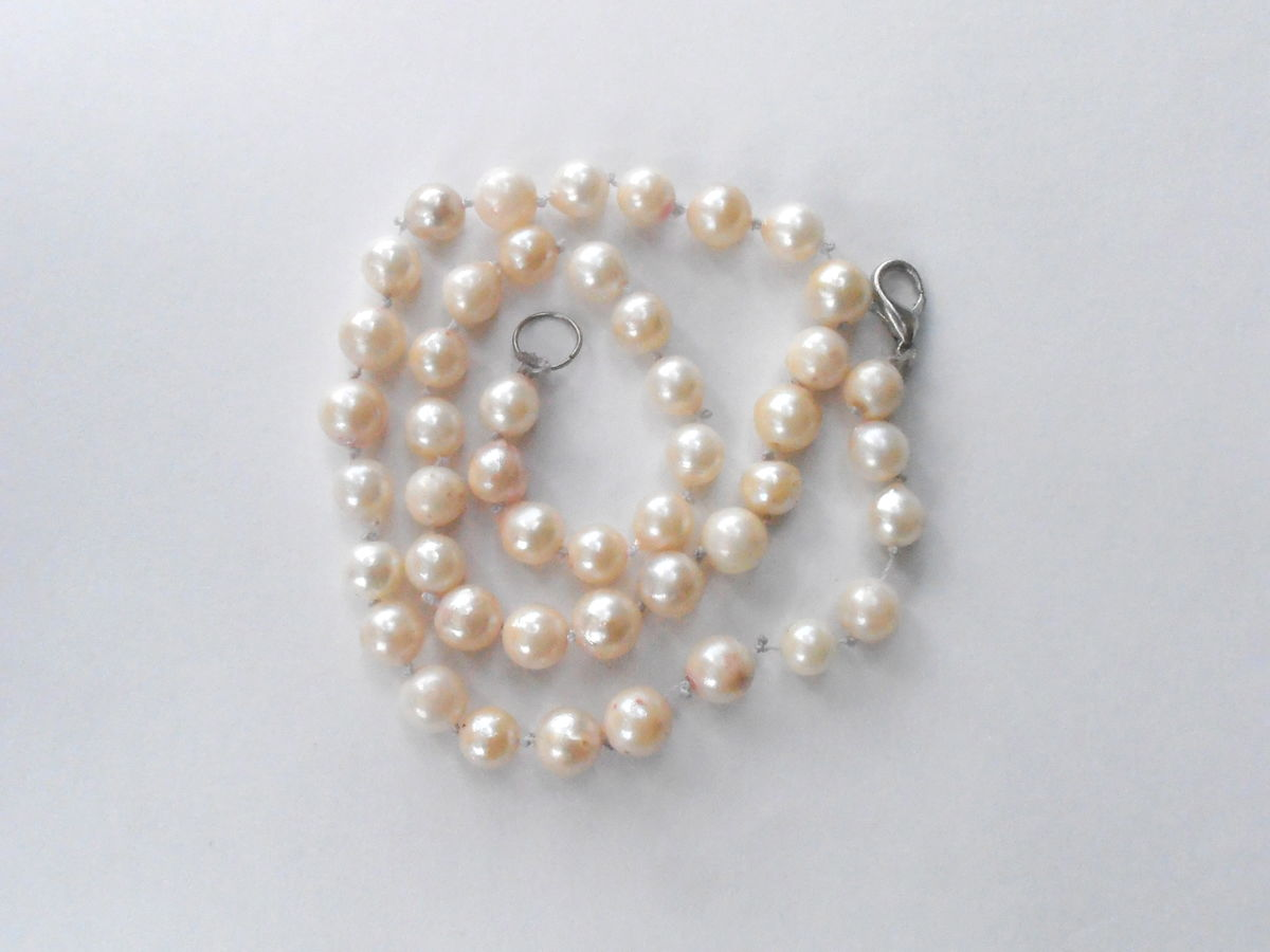 Vintage Pearl Necklace Cultured Pearl Necklace Genuine White Pearl Bead Necklace Real Pearl Art Deco Necklace Single Strand Pearl Necklace - product images  of