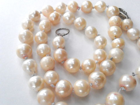 Vintage,Pearl,Necklace,Cultured,Genuine,White,Bead,Real,Art,Deco,Single,Strand,vintage genuine cultured baroque white pearl necklace, vintage single strand white baroque pearl necklace, vintage bride pearl white bridesmaid wedding pearl necklace, vintage silk thread pearl necklace, vintage white pearl matinee length necklace