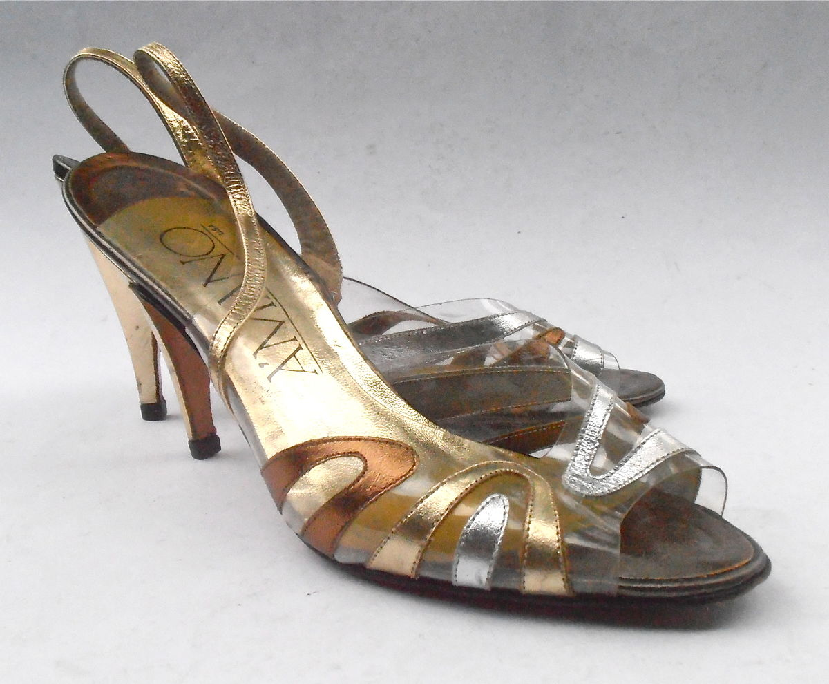 44614501acb Vintage Gold Silver Bronze Leather Shoes Ladies Leather Peep Toe See  Through Clear Womens Slingback Stilettos High Heels Amano U. S. Size 8M