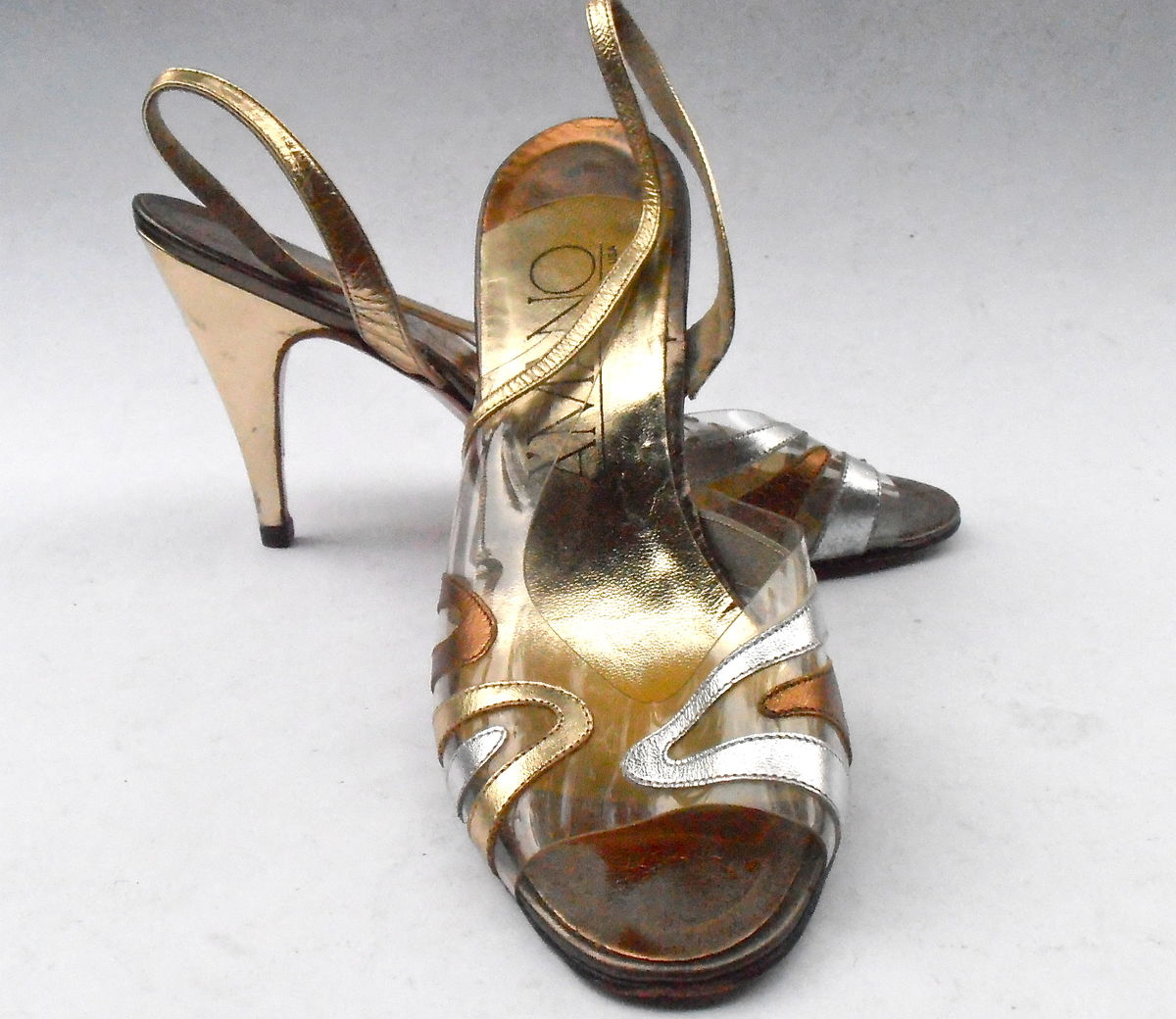 30f280c6e37 ... Vintage Gold Silver Bronze Leather Shoes Ladies Leather Peep Toe See  Through Clear Womens Slingback Stilettos ...