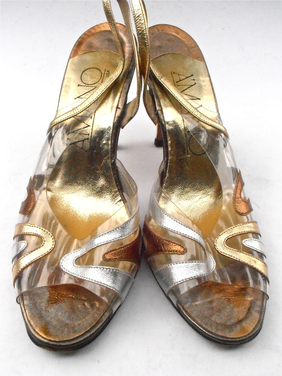 Vintage Gold Silver Bronze Leather Shoes Ladies Leather Peep Toe See Through Clear Womens Slingback Stilettos High Heels Amano U. S. Size 8M - product images  of