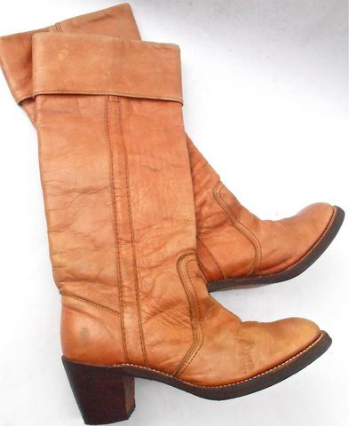 Vintage,Butterscotch,Ladies,Boots,FRYE,Brown,Cuff,Women,Distress,Leather,Ochre,Knee,High,Campus,4L,Shoe,Size,6.5B,Western,Almond,Round,Toes,butterscotch leather ladies boots, vintage frye ochre ladies womens boots shoe size 65b, vintage frye brown cuff knee high boots, frye distressed leather ladies boot, frye campus 4l style honey leather boots, distressed leather boots, almond round toes