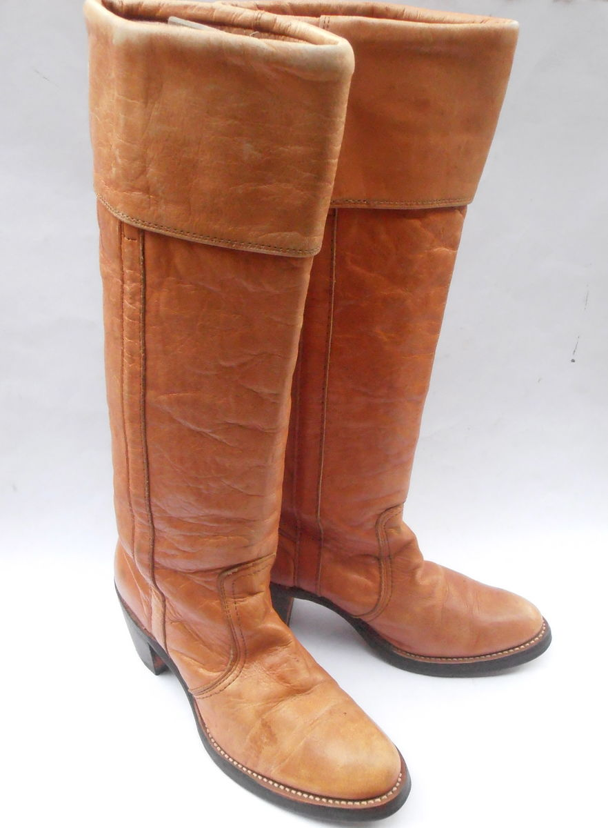 7ceb53ea161 Vintage Butterscotch Ladies Boots FRYE Brown Cuff Women Distress ...