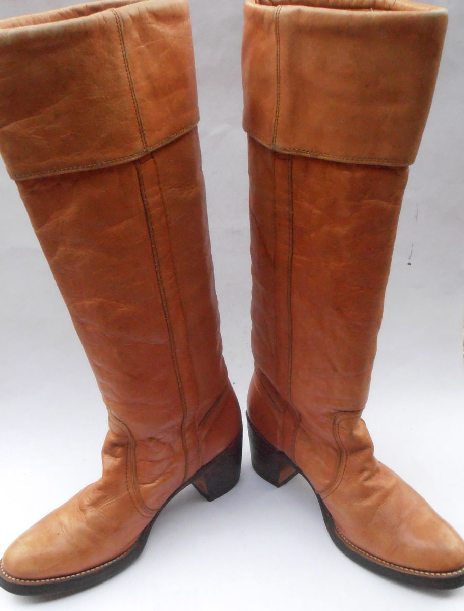 Vintage Butterscotch Ladies Boots FRYE Brown Cuff Women Distress Leather Ochre Knee High Campus 4L Shoe Size 6.5B Western Almond Round Toes  - product images  of