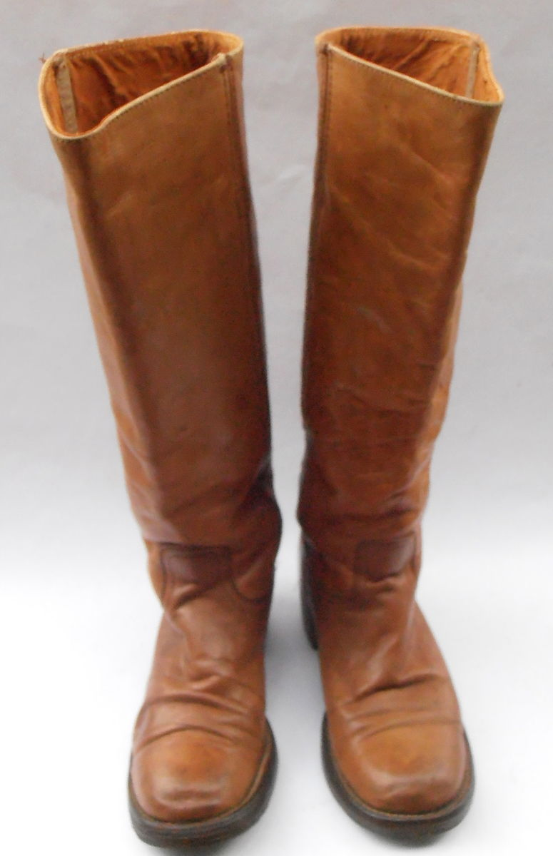 72476a823f7 ... Vintage Frye Distressed Leather Boots Saddle Brown Dark Caramel Ladies  Tall Campus 4L Knee High Western ...