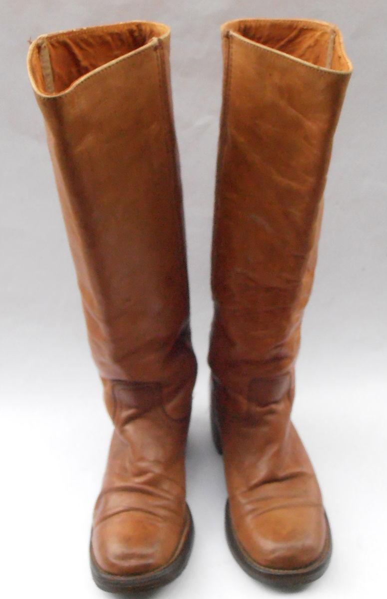 1461d0968d6a8 Vintage Frye Distressed Leather Boots Saddle Brown Dark Caramel ...