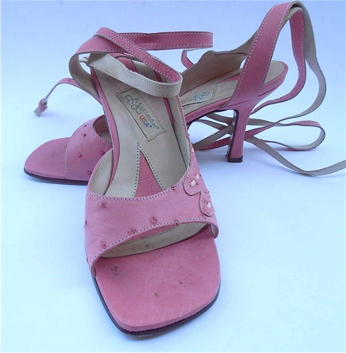 Preowned Pink Genuine Ostrich Leather Shoes Wrap Around Ankle Tie On Straps Open Toe High Heels Sandals Exotic Ladies Women Size 7 EU 37.5  - product images  of