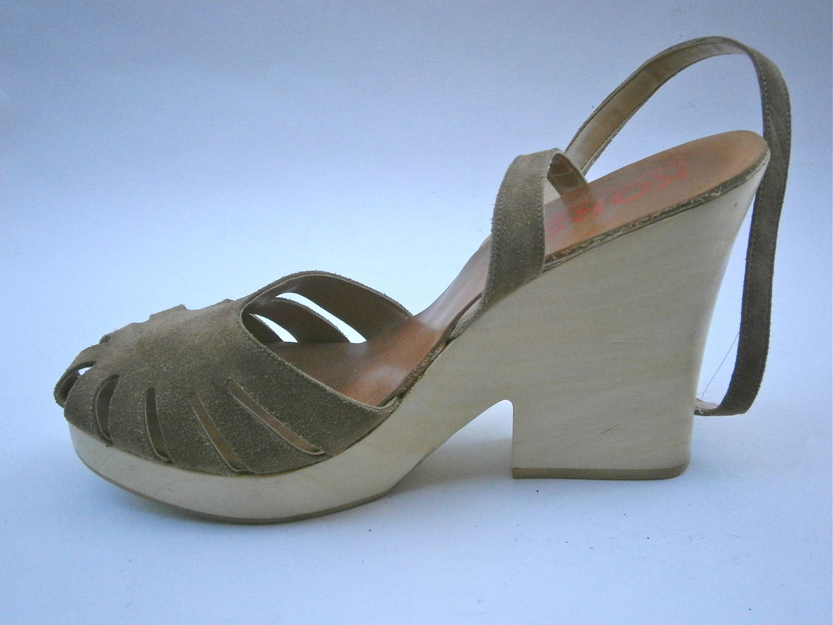 Michael Kors Brown Suede Wooden Platform Leather Shoes Women 10 Designer High Heels Ankle Strap Tall Pre owned Collezione Size 9 Ladies 9.5  - product images  of