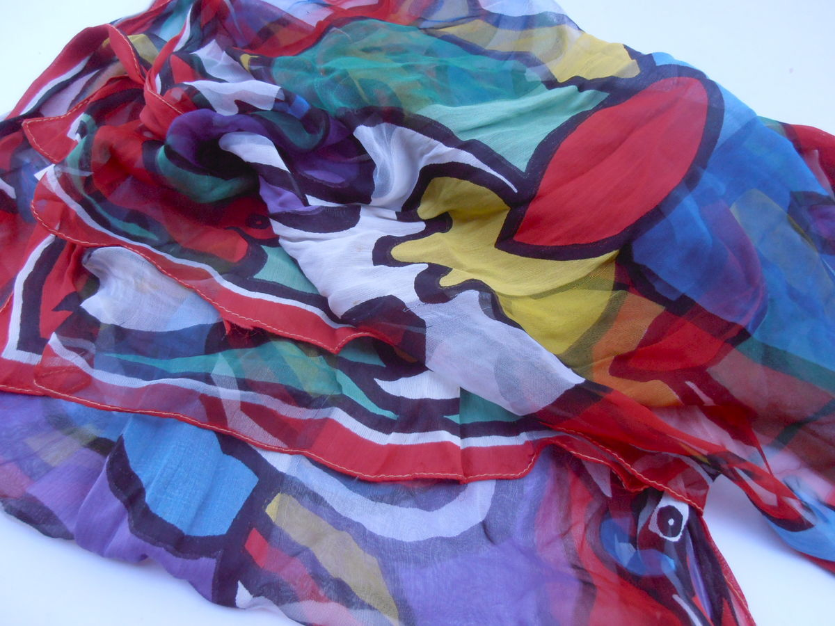"Vintage Multicolored Abstract Scarf Purple Yellow Red Green Long Chiffon Rayon Print Rectangular Rectangle 68"" Inches Long x 20"" Inches Wide - product images  of"