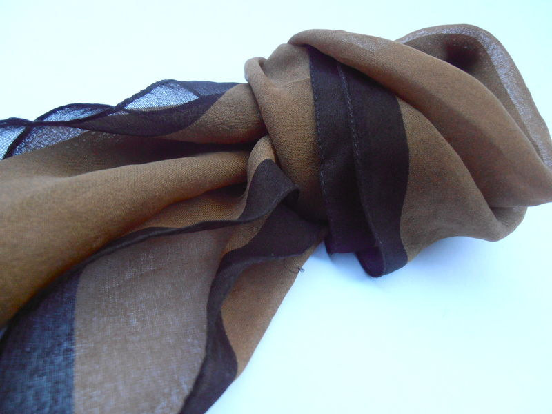 Vintage Brown Sheen Scarf Neckerchief Chiffon Soft Fabric Solid Color Light Dark Border Chic Material Dark Brown Scarf Light Fabric Two Tone - product images  of